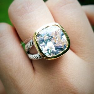 NEW 18k Two Tone Huge Cushion Cable Statement Ring